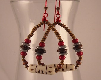 Afrocentric Bone Beads Beaded Hoop Earrings with Magnesite Hematite Coconut and Wood Beads