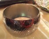"1.5"" Thick Silver Vintage Bangle Textured Bracelet"