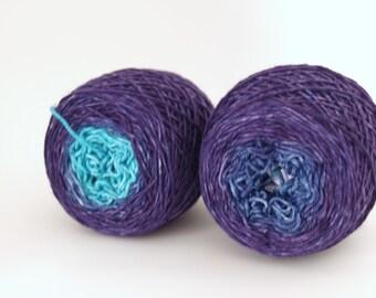 Hand Dyed Fingering/Sock Yarn, Gradient Sock, Superwash Merino / Nylon, The Purple Effect