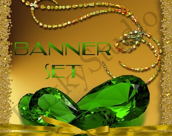 Shop Banner Set shop icon,cover/banner,avatar/profile picture -crystals,gems,jewelery,gold,green,diamonds