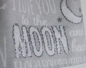 Kawaii Pale Grey Polka Dot I Love You To the Moon and Twinkle Twinkle Little Star Reversible Baby Sun Dress