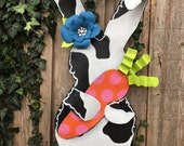 Easter Door Hanger, Screen Door Hanger, Black and White Easter Bunny Rabbit Door Hanger,  Carrot Door Hanger,  Flower Door Hanger