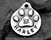 Dog Tag for Dogs Pet Tag Dog ID Tag Handmade Personalized Paw Print with Skull