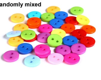 9mm Mixed color button - resin button - craft button - Round buttons - 2 holes (1604)