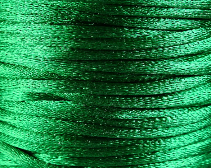2mm green nylon thread cord - Knotting cord - Thick nylon thread - Nylon satin cord - Macrame cord - 10 feet (R029) - Flat rate shipping