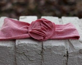 Child Fabric Flowered Stretchy Headband--Red