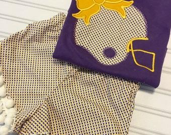 LSU girls outfit, LSU toddler outfit, LSU girls shorts, lsu tiger paw shirt, lsu tigers kids clothing, lsu girls shirt, purple gold girl