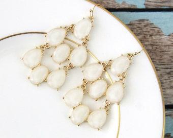 Ivory Chandelier Earrings, Bridal Earrings, Bridesmaid Earrings, Ivory Earrings,Bridesmaid Gift, Prom Earrings