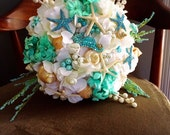 Aqua Sea Shell Brooch Bouquet READY TO SHIP