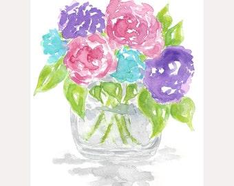 Watercolor flower painting, flower art, rose watercolor painting, still life flowers, mother's day gifts, gifts for her, original flower art