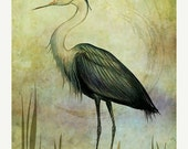 ON SALE Lord of the Marsh, Photo Art, Heron, Moon, Wetland, Nature