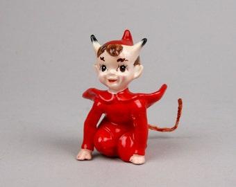 Vintage Kreiss Devil Salt or Pepper Shaker 1955, Little Devil, Halloween Decor made in Japan