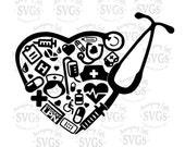 SVG - Student LPN Collage - DXF -  Nurse svg - Medical - Lpn - Nurse Heart - Nurse's Cap - Nurse Tshirt - Nursing - Stethoscope - Decal
