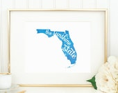 "Florida State Watercolor Art Print - ""The Sunshine State"" - Mirabelle Creations"