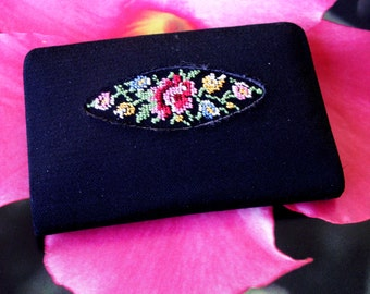 Vintage Petit Point Floral Black Fabric Covered Purse Sized Note Pad with Tiny Pencil WESTERN GERMANY