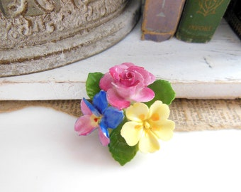 Vintage Cara China Staffordshire England Garden Flower Bunch Brooch Pin R49