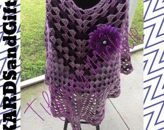 Boho Purple Poncho with Handmade Flower