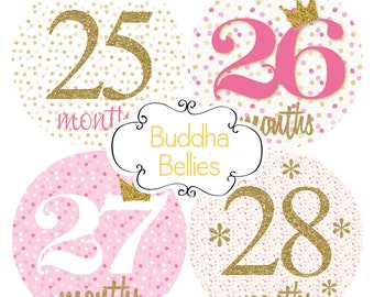 Baby Girl Monthly Sticker 3rd year Set Pink and Gold Glitter Confetti Month Baby Stickers - Month to Month Stickers - Monthly Baby Decals -