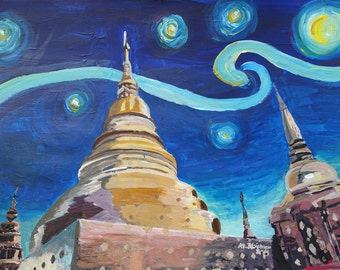 Starry Night in Thailand - Van Gogh Inspirations in Thai Temple - Limited Edition Fine Art Print/Original Canvas Painting