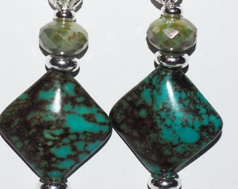 Blue-green glass bead, silver plated findings