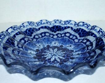 Fused glass cobalt glass bowl Anne Ross glass bowl home decor signed bowl