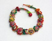 Floral textile necklace, crochet jewelry with fabric buttons, colorful, OOAK