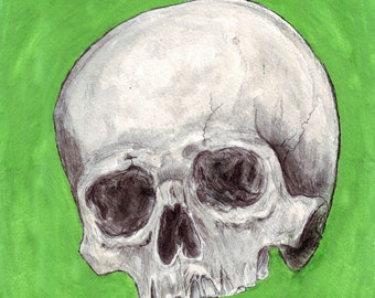 Skull mixed media drawing 2, 9 x 9 square green