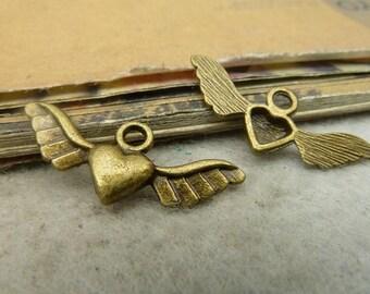 30pcs 10x27mm antique bronze love heart wing flyer charms pendant C4919