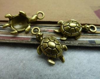 30pcs 12*23mm antique bronze tortoise animal charms pendant C7238