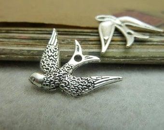 50pcs 17*24mm antique silver bird charms pendant C7235