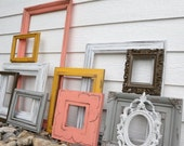 RESERVED*** Set of 11 Upcycled Frames - Coral, Gray, Brown, Deep Yellow - Painted Picture Frames - Wall Gallery - Nursery - Wedding - Coral