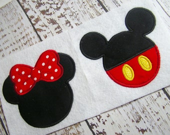 Minnie Mouse and Mickey mouse applique machine embroidery design, embroidery mickey mouse, appliqué mickey and minnie mouse designs