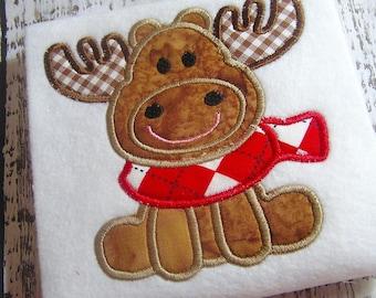 Applique Christmas Moose machine embroidery design, Christmas applique design, Merry Christmas, Happy Holidays, 4x4 5x7 8x8 hoops, Santa