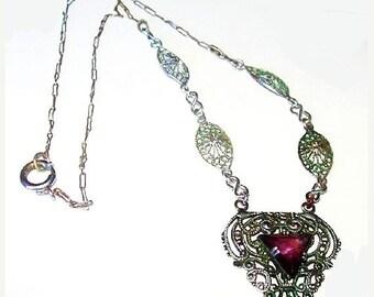 "Edwardian Amethyst Pendant Necklace Sterling Silver Paper Clip Filigree Chain 17""  vintage"