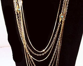 "Monet Gold Chain Necklaces 6 Strands Blue Beads Metallic Fashion 56"" & 34"" Vintage"