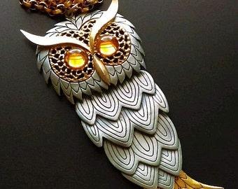 "Owl Pendant Necklace Citrine Yellow Rhinestone Eyes Silver Brass Metal Big & Bold 24"" Vintage"