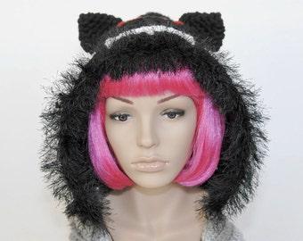 Tac Nayn Hooded Crochet Scarf- Nyan Cat- Meme- Kawaii- Women Crochet Hat-Crochet Scarf-Crochet Hat-Christmas Gift-Winter