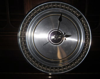 Chevy Hub Cap Clock-Man Cave Decor - Garage Clock - Vintage Hub Cap - Hub Cap Clock