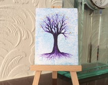 Purple Tree of Life ACEO Encaustic Original Art Miniature Collectible Painting
