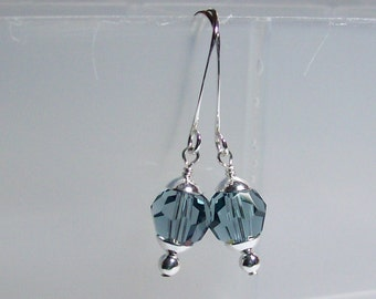 Swarovski Crystal Earrings. Blue Crystal Earrings. Sterling Silver Swarovski Earrings. Dressy. Sparkly. Everyday. Swarovski Dangle Earrings.