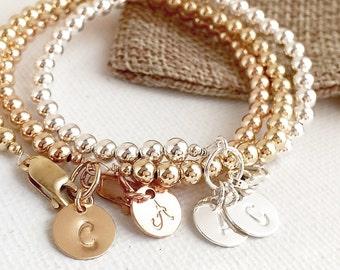 Personalized Ball Bracelet, Beads Bracelet, Initial Bracelet, Personalized Beaded Bracelet, Gift for Mom, Wife, Sister, Custom Bracelet