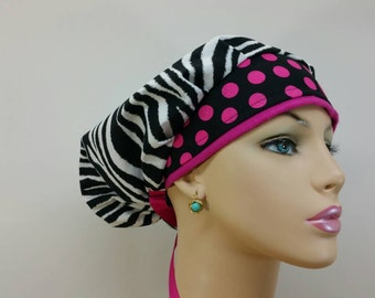 Bouffant Cap/Medical Scrub Hat - Zebra Print - Hot Pink Polka Dots - 100 % cotton