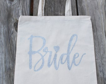 White & Silver Glitter Bride Tote Bag Wedding Party Bridal