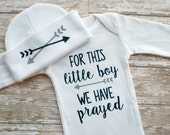 Baby Boy Gown - For This Little Boy We Have Prayed - Boy Layette Set - Baby Boy Coming Home Outfit - Baby Boy Gift - Bring Home Outfit Boy