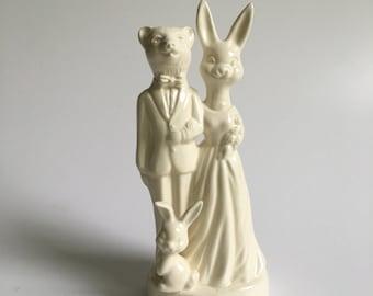 Bear Bunny and Baby Bunny Handmade Ceramic Wedding Cake Topper