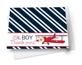 Airplane Baby Shower Thank You Card Fill-In Stationery, Navy Thank You Card, Folded Cards, Baby Boy Thank You, Vintage Cards, Stripe (AIRTU)