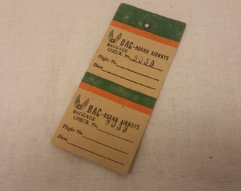 Vintage 1988 Burma Airways Baggage Check Tag - BAC, Myanmar, Burma, Ephemera, Bookmark, Cool Things, Historical