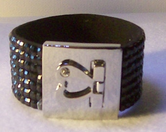 Cuff bracelet, black, red or purple crystal cuff, heart clasp 1 inch wide closure, 8 inches long, Free standard USA shipping only  B1075
