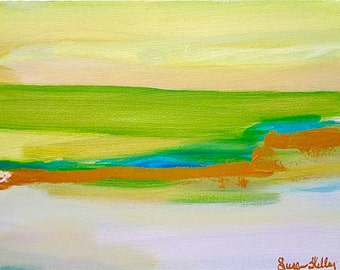 HALF PRICE SALE Abstract Original Intuitive Art Painting 12 X 16 Medium Susan Skelley Free Domestic Shipping Green Turquoise Lazy Swamps