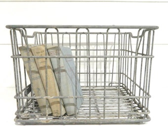 Vintage Milk Crate Metal Storage Crate Industrial Decor